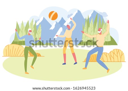 Group of Active Seniors Playing Ball on Field Outdoors. Aged Men and Woman Having Fun in Outdoor Activity and Sport Recreation. Nursing Home Leisure or Meeting Friends Cartoon Flat Vector Illustration