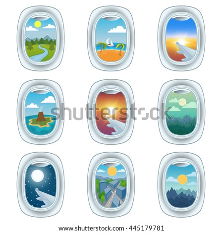 group of airplane windows with