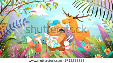 Group of animals friends hiking in magic forest with leaves flowers and mountains. Nature landscape with adventurous bear rabbit fox and moose looking at the map. Vector illustration for kids. Photo stock ©
