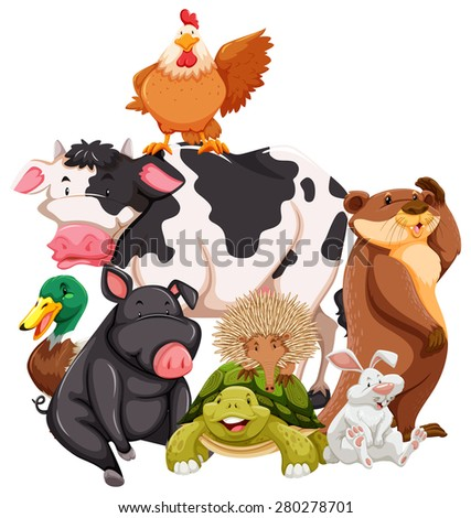 group of animals on white