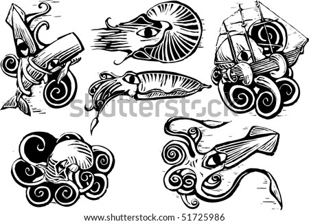 Group of aquatic animals with squids, nautilus, cuttlefish and octopus in retro woodcut image.