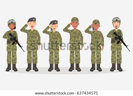 group of army  men and woman