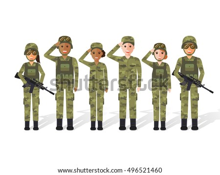 group of army  military people