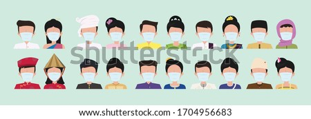 Group of Asean people wearing medical masks to prevent disease, flu, air pollution, contaminated air, world pollution. Flat design people characters.