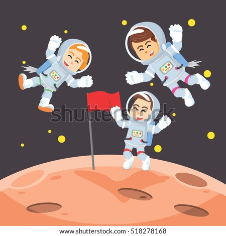 group of astronaut putting flag