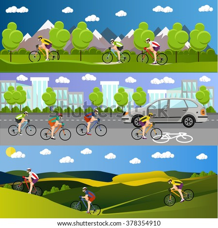 Group of bicycle riders on bikes in mountains, city road and park. Biking sport concept cartoon banners. Vector illustration in flat style design.
