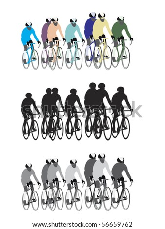 group of bicycle road racers, easy to edit