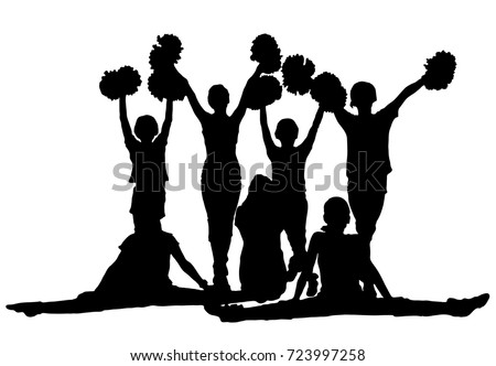group of black silhouettes of