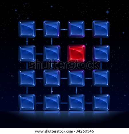 group of blue square glass