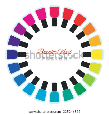 group of bright nail polish