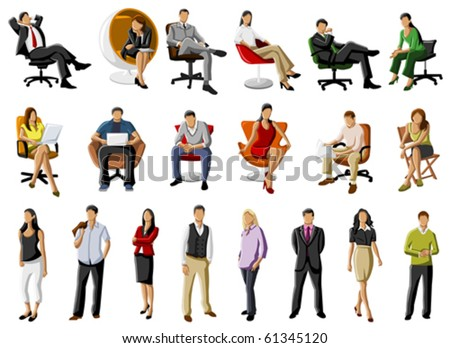 Group of business and office people - stock vector