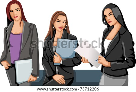 Group of business and office women