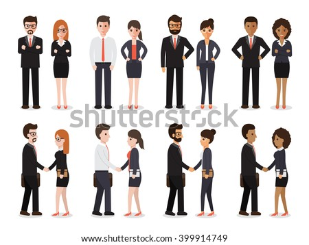 Group of business men and business women standing , people at work with handshaking on white background. Flat design characters.