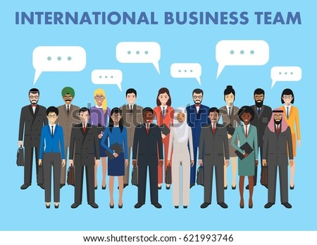 Group of business men and women standing together and speech bubble in flat style. Business team and teamwork concept. Different nationalities and dress styles. Flat design people characters.
