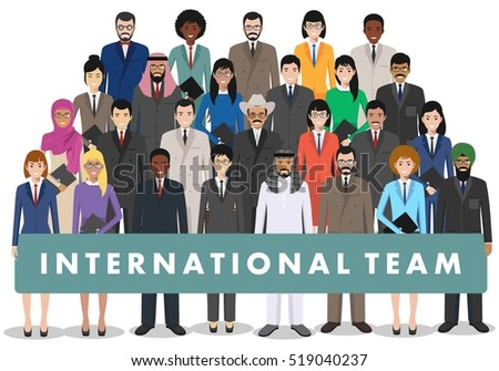 Group of business men and women, working people standing together on white background. Business team and teamwork concept. Different nationalities and dress styles. Flat design people characters.