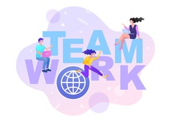 Group of business people assembling represent team support. Concept of teamwork, business cooperation, collective project work. Modern flat colorful vector illustration.