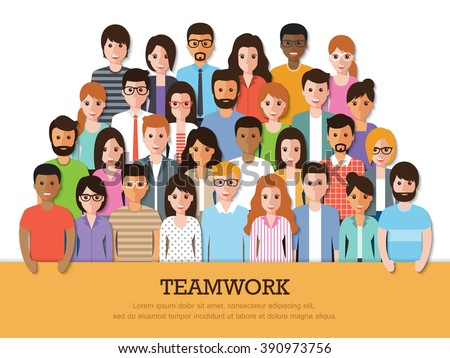 Group of business people at work with teamwork banner on white background. Businessman and businesswoman. Business team and teamwork concept in flat design people characters.