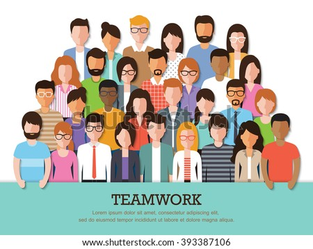 Group of business people at work with teamwork banner on white background. Businessman and businesswoman. Business team and teamwork concept in flat design characters.