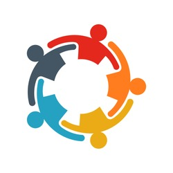 Group of business people.Business people sharing their ideas. Logo Illustration