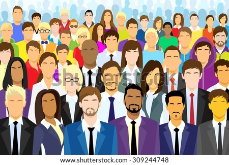 group of business people face