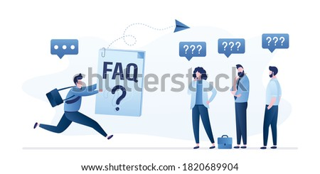 Group of business people have questions and need help. Male manager with fast support. Help line, feedback, connection in social media. Online user guide and FAQ. Trendy style vector illustration Foto stock ©