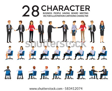 Group of Business People  Having Board Meeting,Vector illustration cartoon character
