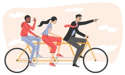 Group of business people riding on tandem bicycle, man and woman in good coordination. Successful businessman collective teamwork cooperation concept. Flat vector illustration.