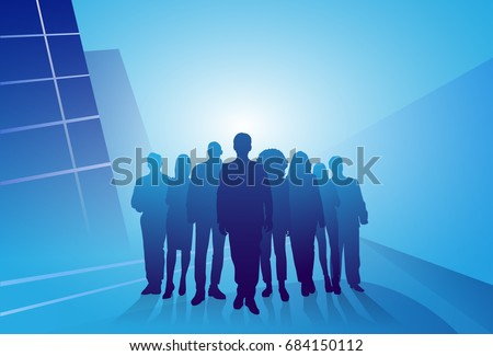 Group Of Business People Silhouette Businesspeople Over Abstract Background Vector Illustration