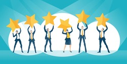 Group of business people, team holding golden stars up as symbol of success