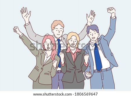 Group of business people to successful. Business team with determination and confidence. Hand drawn in thin line style, vector illustrations.