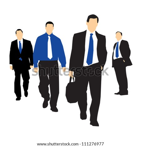 group of business people walking together towards a target