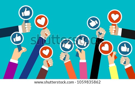 Group of business people with thumbs up and thumbs down icon. Testimonials, feedback, customer review concept. Vector illustration. Flat style design