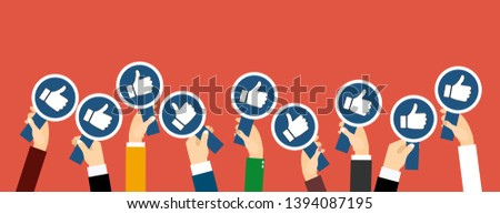 Group of business people with thumbs up  icon. Testimonials, feedback, customer review concept. Vector illustration. Flat style design Сток-фото ©