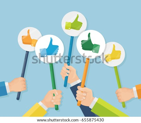Group of business people with thumbs up icon. Testimonials, feedback, customer review concept. Vector illustration. Flat style design