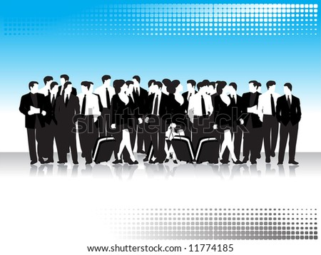Group of business peoples, black silhouettes