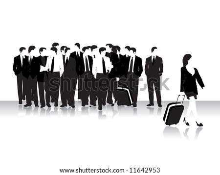 Group of business peoples in airport, black silhouettes