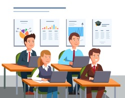Group of business students people learning management sitting in classroom interior. Business man and woman education class. Flat style character isolated vector illustration on white