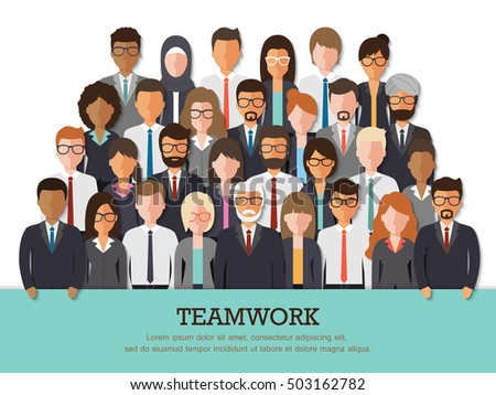 Group of businessman and businesswoman, people at work with teamwork banner on white background. Business team and teamwork concept in flat design people characters.