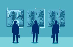 Group of businessmen have a different solution for a challenging labyrinth