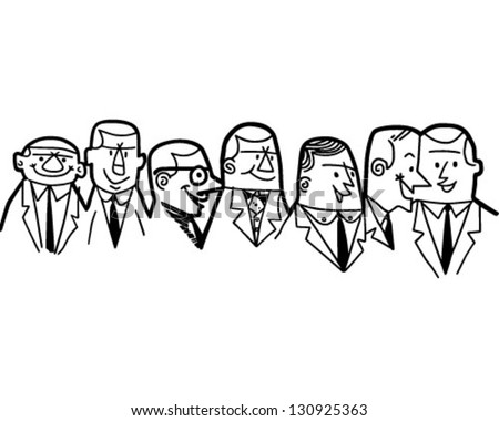 Group Of Businessmen - Retro Clip Art Illustration