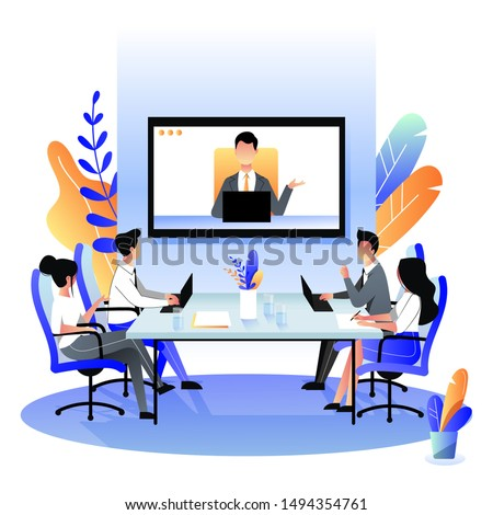 Group of businesspeople at the video conference call in boardroom. Vector flat cartoon illustration. Online meeting with CEO, manager or director. Business consulting concept.