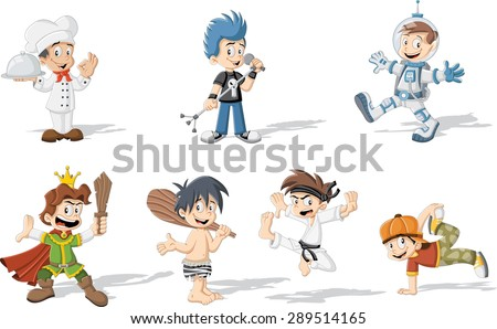 group of cartoon boys wearing