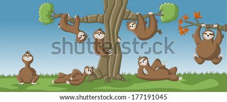 group of cartoon brown sloths