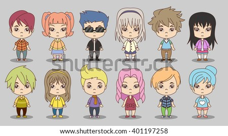 group of cartoon children