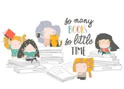 Group of cartoon children reading books. My first book