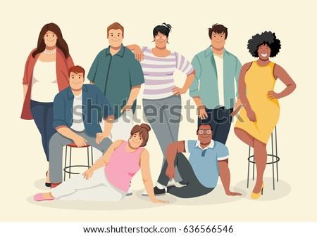 Group of cartoon fat young people. Plus size teenagers.