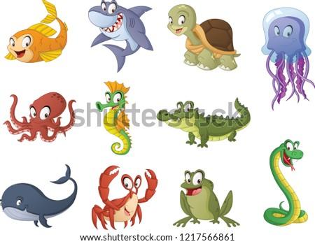 Group of cartoon fish, reptiles and amphibians. Vector illustration of funny happy aquatic animals.