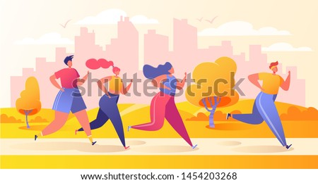 Group of cartoon, flat characters running in the city park during the early warm autumn. Healthy lifestyle concept, outdoor. Sport competition. Athlete sprinter, sportsmen and sportswomen run.