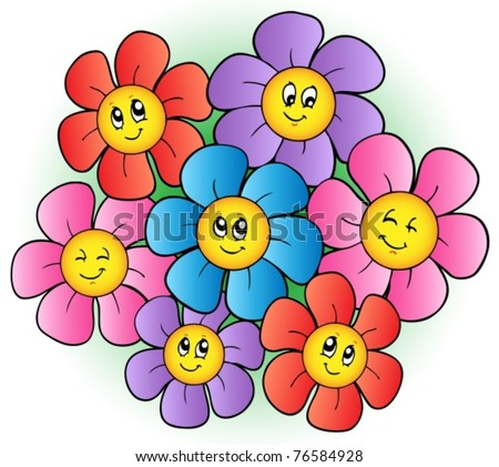 group of cartoon flowers vector illustration