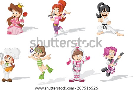 Group of cartoon girls wearing different costumes Stock fotó ©
